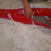 Ajout d'une jupe géotextile par laçage, pour agrandir un barrage filtrant MES - DIFOPE